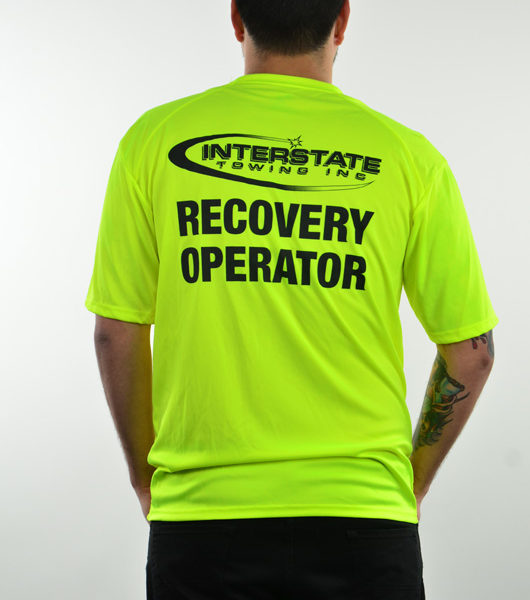 "Men's Safety Green ""Recovery Operator"" Moisture Wicking T-Shirt"